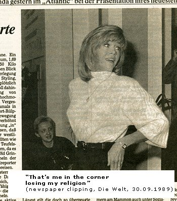 Jane Fonda newspaper article, Moni Kellermann pictured