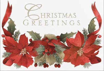Merry Christmas Family greeting card with Flower