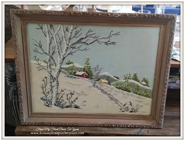 Crewel Framed Winter Artwork-Thrift Store Shopping- From My Front Porch To Yours