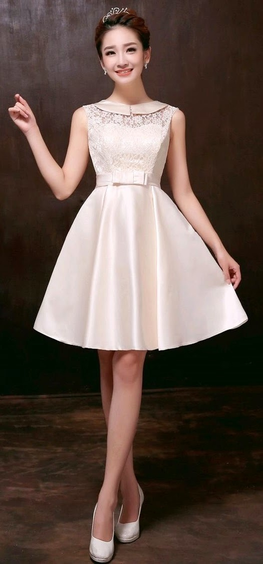 Retro Silk Satin Lace Top Midi Bridesmaid Dress