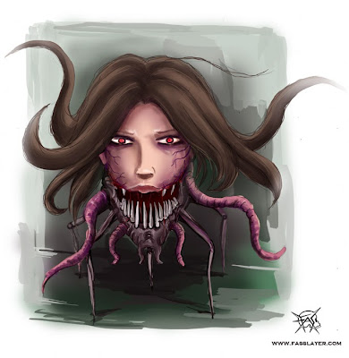 arachnohead horror illustration