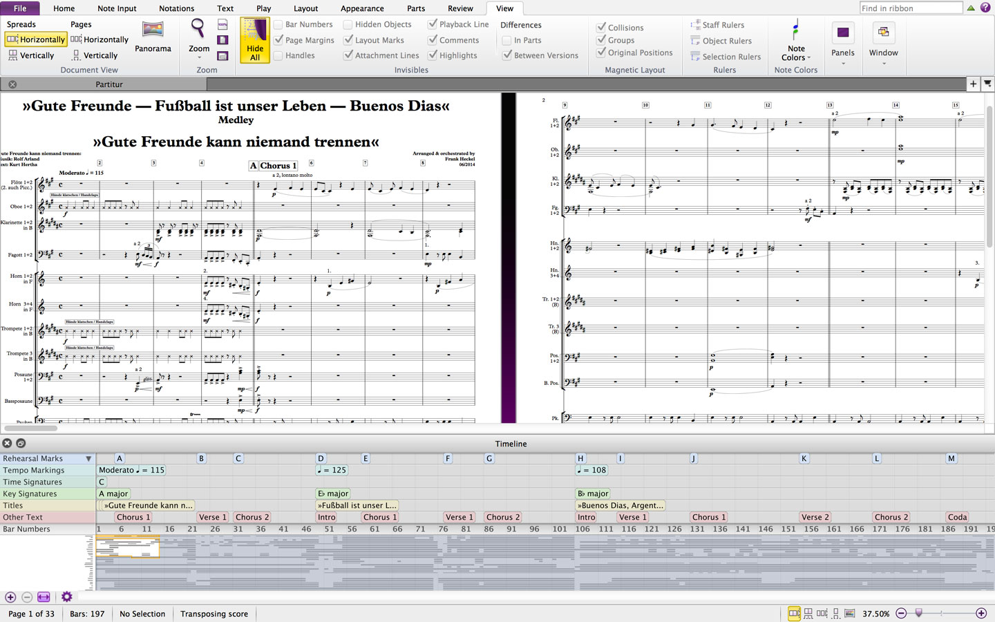 Sibelius 7.5 screenshot with chart example, ribbon menu and timeline window