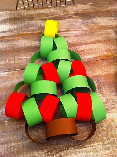 Christmas Paper Chain template (see below) or use wrapping paper cut to size. Hang on the Christmas Tree, or decorate an outdoor tree on a fine Christmas Day. Table Centrepiece. Make a shape out of the chain and use in the centre of a table. Along a window – Inside or Outside.