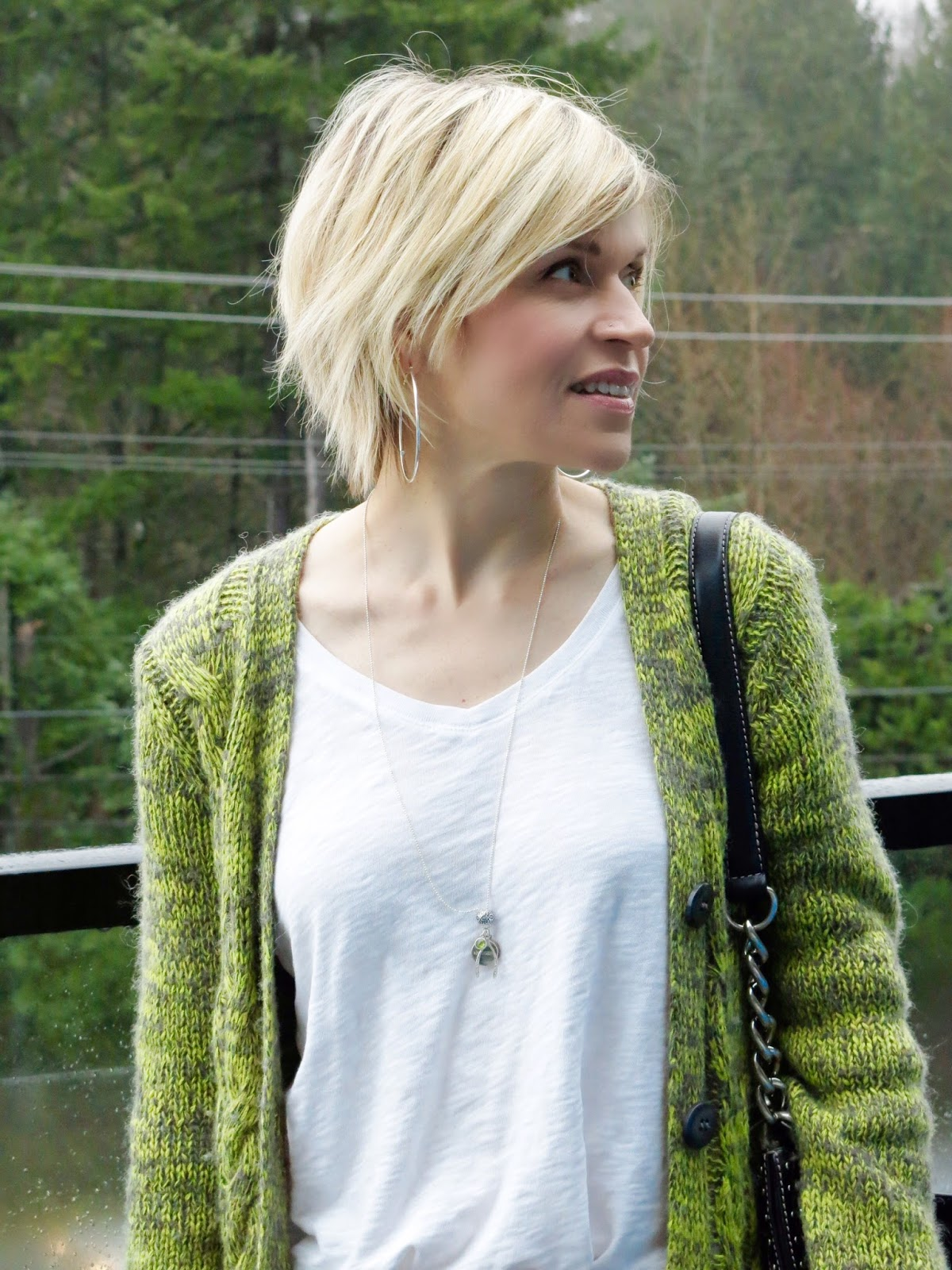 slouchy white tee and grandpa cardigan