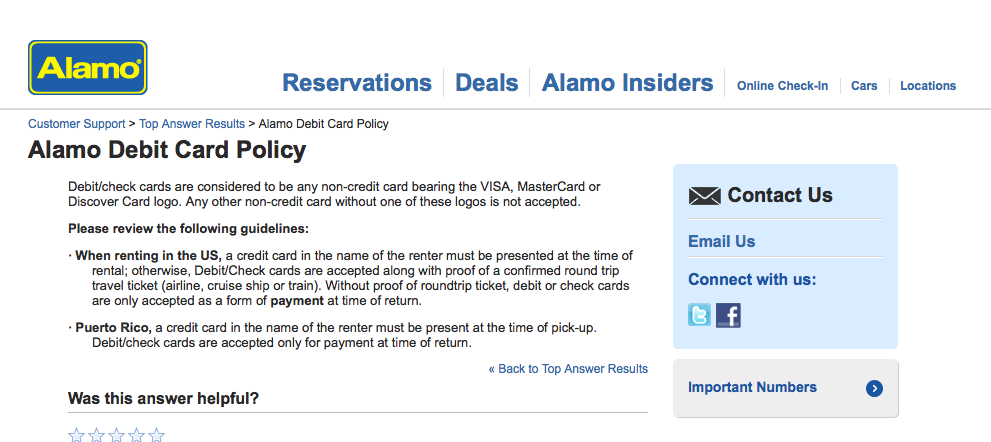 Alamo Debit Card Policy
