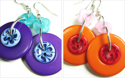 Big drop dangle earrings have large fashion buttons hanging from cute flower buttons