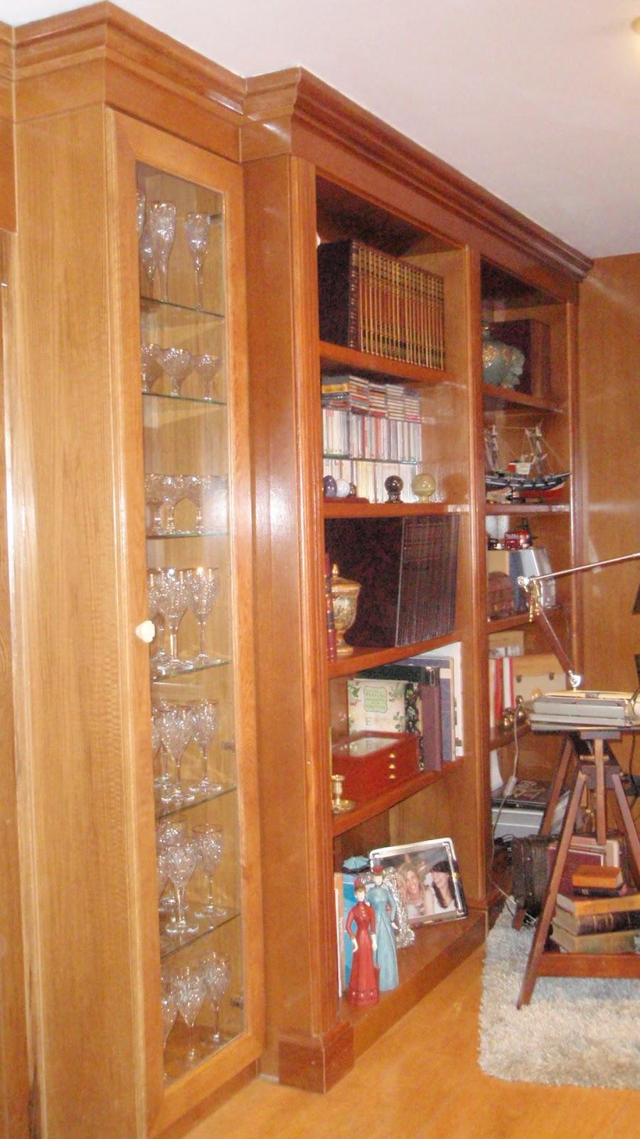 Estanter a de madera empotrada pared completa carpinter a y restauraci n de muebles a medida - Estanterias de madera a medida ...
