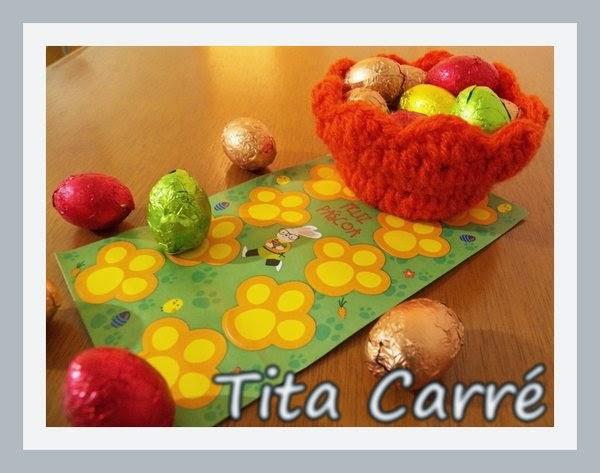 A minha cesta em crochet de ovinhos de chocolate