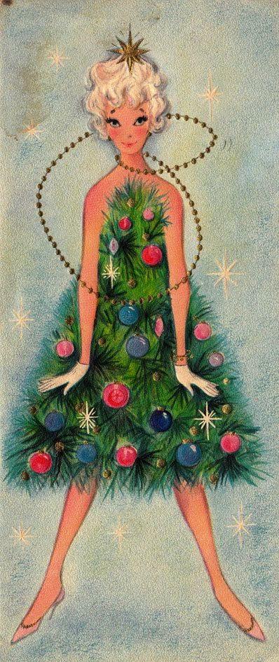 открытка с девочкой ёлкой