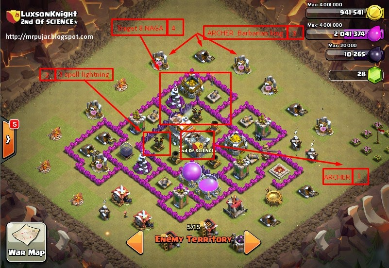 Trik clash of clans strategi war attack th7 dengan naga