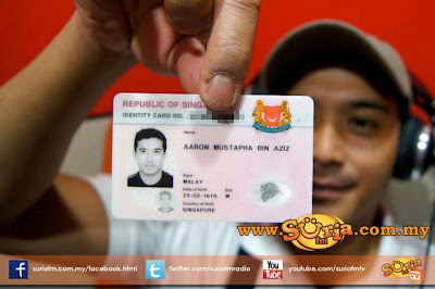 Gambar Kad Pengenalan Sebenar Aaron Aziz
