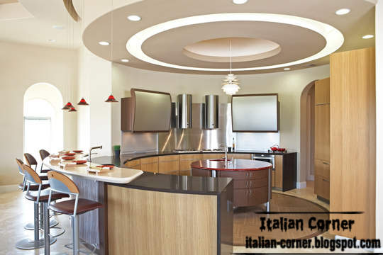 Beautiful Italian Kitchen Round Design With Modern Round Pop Ceiling Design