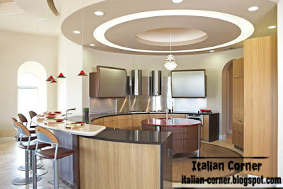 italian kitchen round design with modern round pop ceiling design
