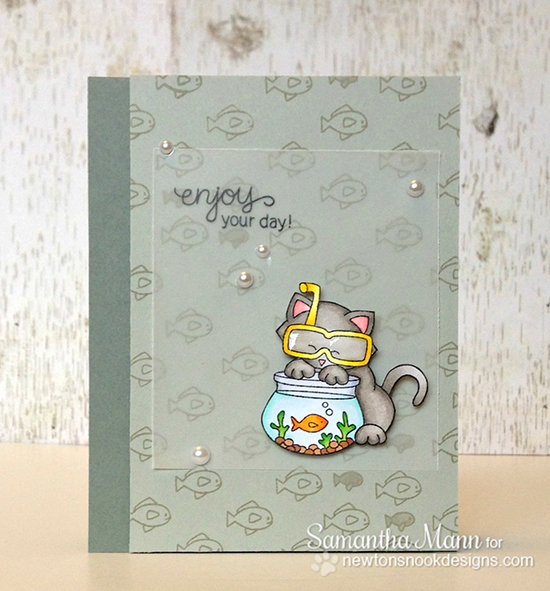 Fishbowl Kitty card by Samantha Mann using Newton's Summer Vacation Cat Stamp set by Newton's Nook Designs