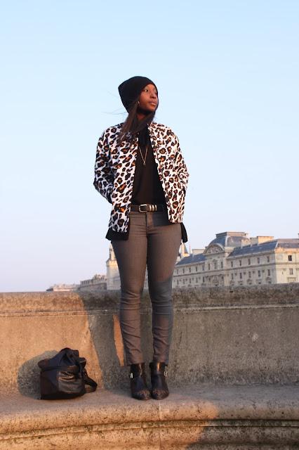 Le blog d'Awa, veste leopard h&m, slim, h&m, bonnet loose