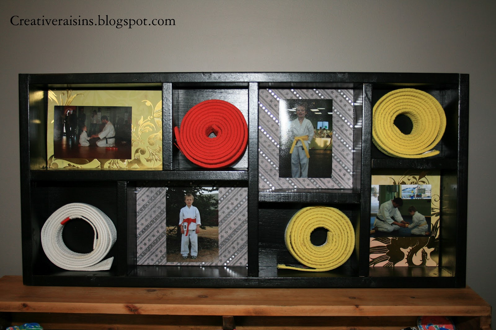 Karate belt display ideas - I Wanted To Incorporate His Belts Along With Pictures Of Him Throughout The Years At His Belt Ceremonies I Started With A Simple Box And Then Added In The