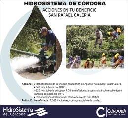 HidroSistema de Córdoba beneficia con obras y acciones a cerca de 3 mil habitantes
