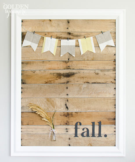 This DIY pallet art by Alison over at Golden Sycamore is an understanded fall decor project that you'll be proud to hang on the wall.