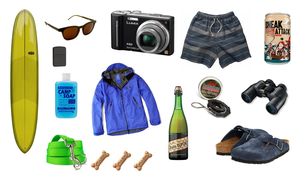 Surfboard - Almond Surfboards - Pinwheel Soap - Camp Soap Shoes - Birkenstock Boston Clog Beer - 21st Amendment Sneak Attack Saison Camera - Panasonic DMC ZS7 Dog Accessories - Lime Green Leash Beer - Saison Dupont Shorts - Jed and Marne Barnett Binoculars - Nikon Aculon A211 Lighter - Zippo Waterproof Shell - Ekman Ultra Marine - Finisterre Sunglasses -  Kaibosh A Scandinavian In NY Sunglasses Camp Accessories - Pocket Chainsaw