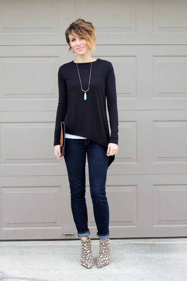 Asymetrical tee, dark denim and leopard ankle boots