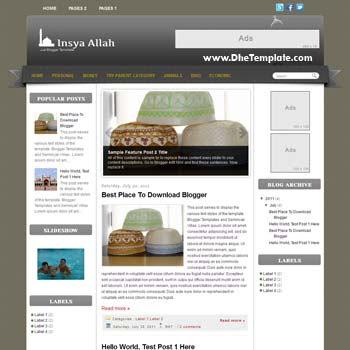 Insya Allah Blogger Template. template blogspot free