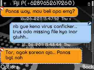 Tampilan SMS BB di E63