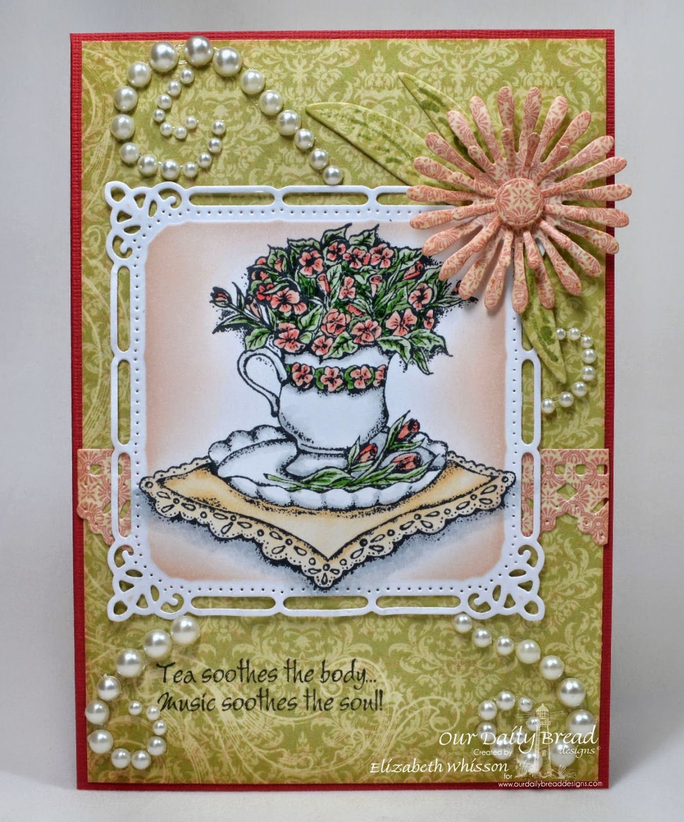 Our Daily Bread Designs, Birthday Blessings, Just a Note, ODBD Beautiful Borders Dies, ODBD Asters and Leaves Dies, ODBD Blushing Rose Paper Collection, Designed by Elizabeth Whisson