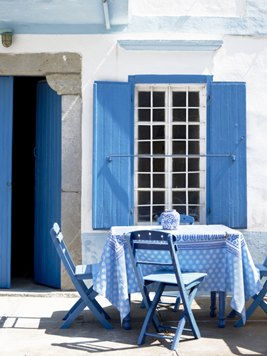 Blue and white outdoors