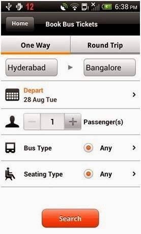 Screenshot of mybustickets.in app of android mobile