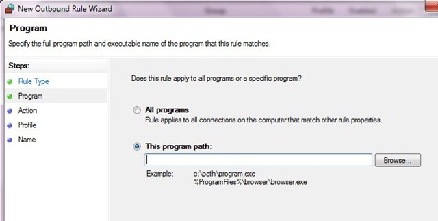 firewall add program stop a program from updating