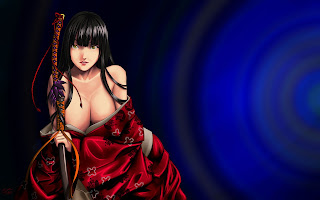 Sexy Girl Katana Samurai Kimono Cleavage Anime HD Wallpaper Desktop PC Backgound 1687