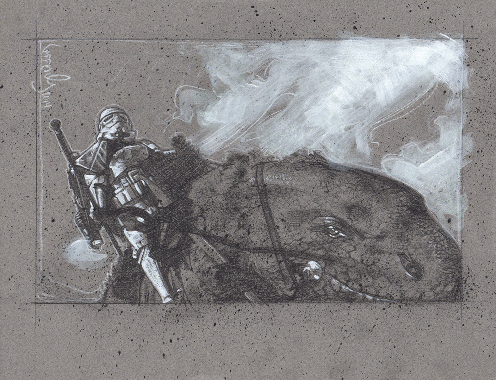 Stormtrooper on Dewback, Artwork is Copyright © 2014 Jeff Lafferty
