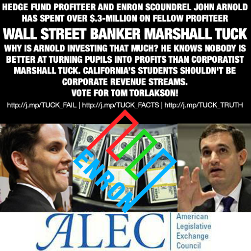 Enron Hedge fund profiteer John Arnold spent over $.3-million on Wall Street banker Marshall Tuck!