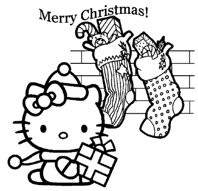 dessin hello kitty qui celebre noel à colorier gratuitement. Coloriage noel avec hello kitty