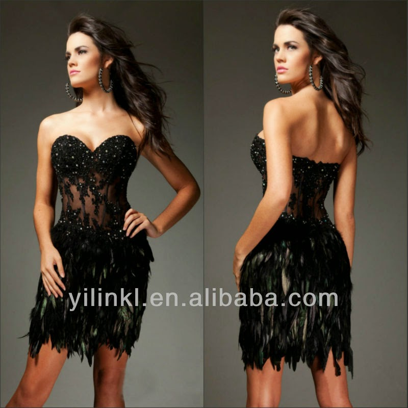 Sweetheart Neckline Black Peacock Feather Short Prom Dress and price