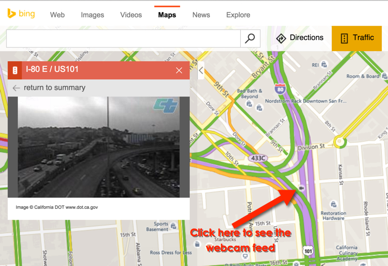 step 2 then click on one of the camera icons in the image below you can see an example from downtown la ive circled the camera icons so you can see them