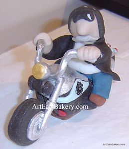 Custom edible motorcycle and man with black jacket rider topper