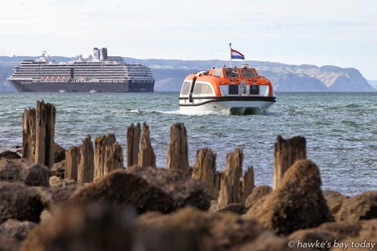 Tenders ferried passengers from the Oosterdam, a cruise ship operated by Holland America Line, from out in Hawke Bay, just off Perfume Point, Ahuriri, up the channel into the Hawke's Bay Sports Fishing Club in the Inner Harbour, Napier. photograph