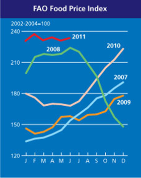 FAO Food Price Index to June 2011.