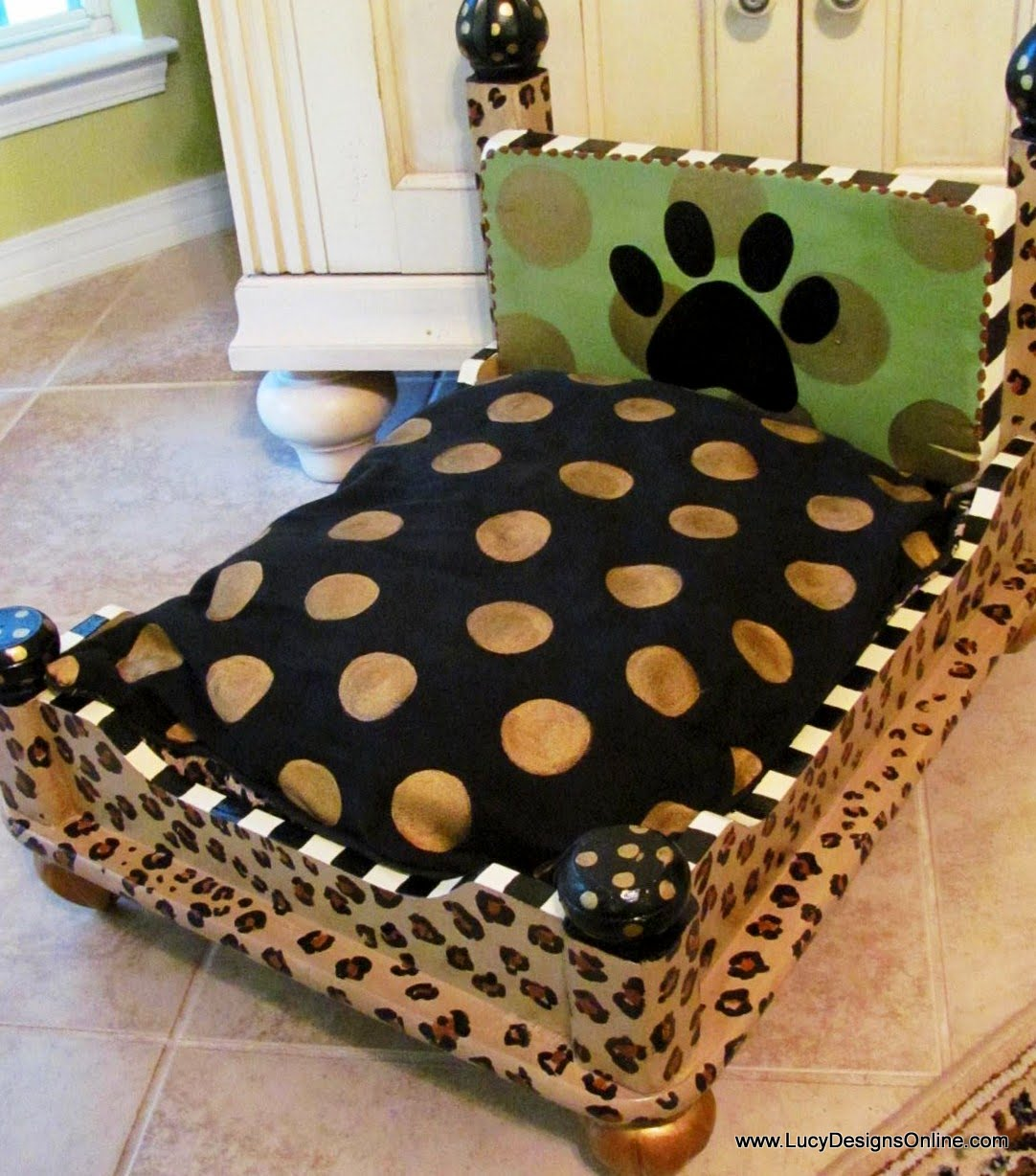 Dog Bed from an End Table Leopard Print Lucy Designs