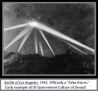 Famous UFO Photo of something being shot with anti-aircraft weaponry over Los Angeles in the year 1942