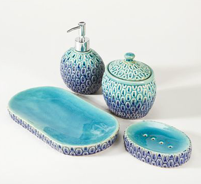 Turn Your Bathroom Into An Escape With The Exclusive Peacock Bath  Accessories. Coordinating Countertop Pieces Are Crafted Of Stoneware And  Feature A ...