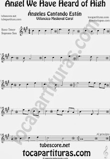 Partitura de para Saxofón Soprano y Saxo Tenor Villancico Christmas Carol Sheet Music for Soprano Sax and Tenor Saxophone Music Scores