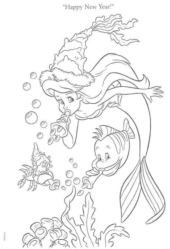 Dibujos para colorear - Princesas Disney (Navidad) title=