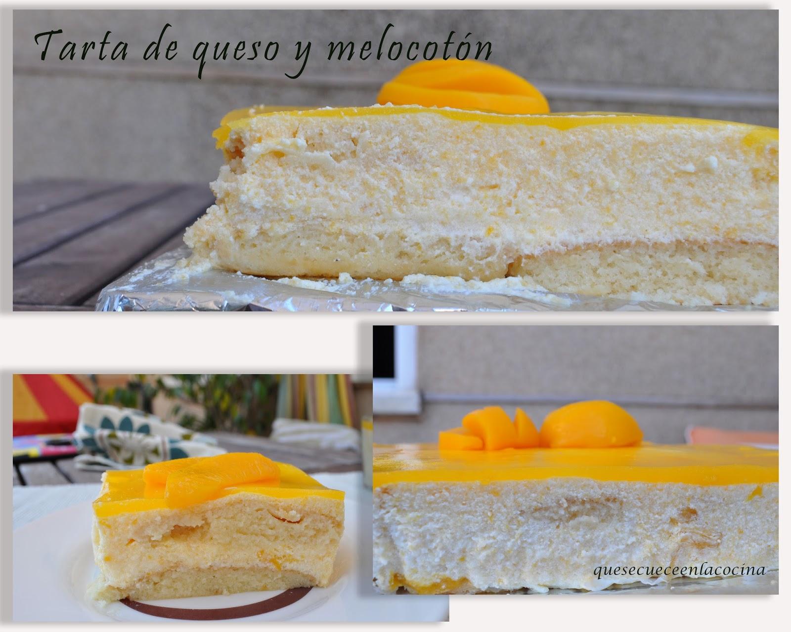 Tarta de queso y melocotón