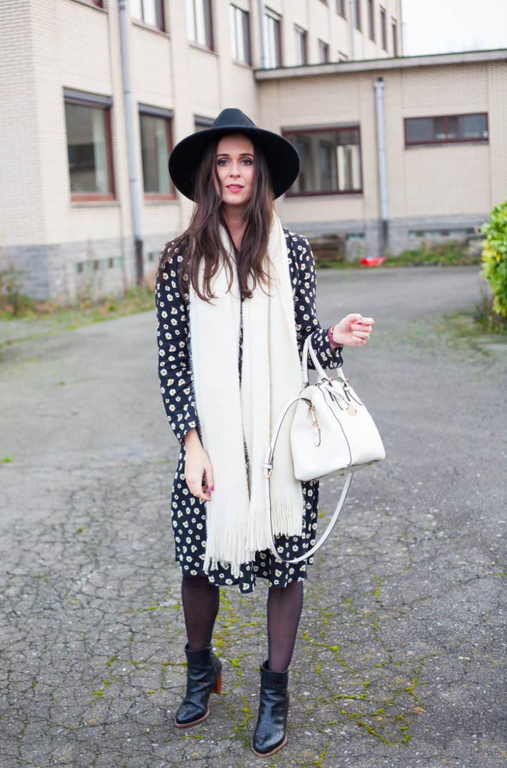 outfit: floral dress, wide brim hat, white purse