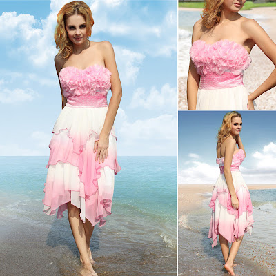 Pink Sweetheart Knee Length Dress