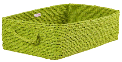 under-bed storage basket, raffia, green