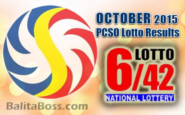 October 2015 Lotto 6/42 PCSO Lotto Results