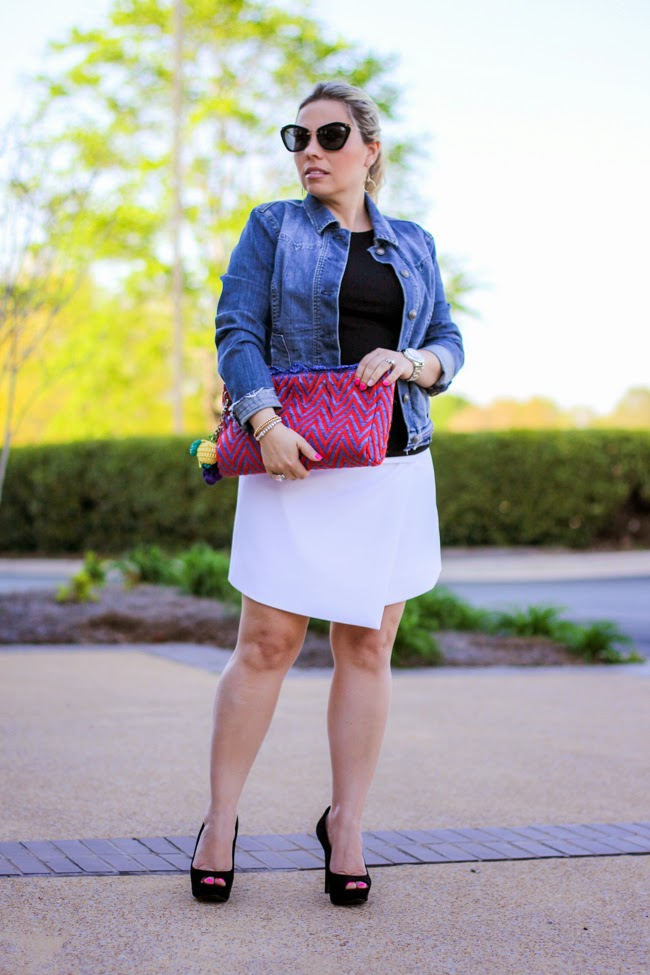 white asymmetric skirt and denim jacket